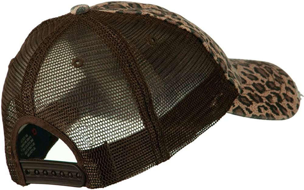 MG Ladies Leopard Print Mesh Canvas Baseball Cap Brown