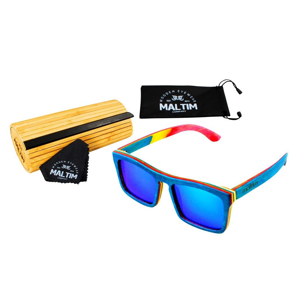 Sonnenbrille aus Ahornholz - Wayfarer Stil - 100% Handgefertigt - Polarisierende Gläser - UV400 Schutz - CE Standards - Umweltfreundlich - Beutel, Tuch und Bambus-Etui ANGEBOT