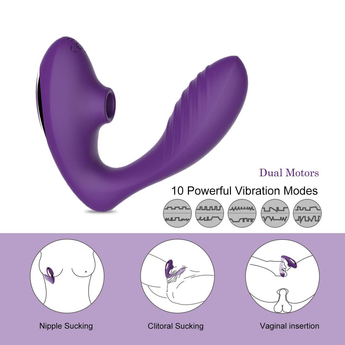 Clitoral Sucking Vibrator, G Spot Clit Dildo Vibrators Waterproof, Rechargeable Clitoris Stimulator with 10 Suction & Vibration Patterns Sex Toys for Women (Purple)