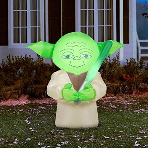 star wars big head yoda lighted holiday yard airblown self inflatable 45 foot - Star Wars Inflatable Christmas Decorations