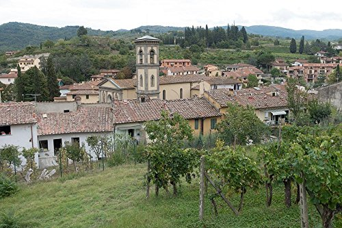 Quality Prints - Laminated 36x24 Vibrant Durable Photo Poster - Village Place Vineyard Home Church Bell Tower Tuscany Italy Province Florence Greve in Chianti Old Town Middle Ages City View Town