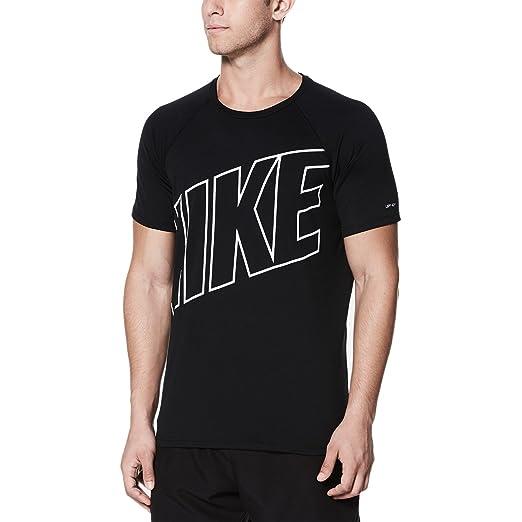 57ec8184f Nike NESS8552 Men's Logo Short Sleeve Hydroguard, Black - Small at ...