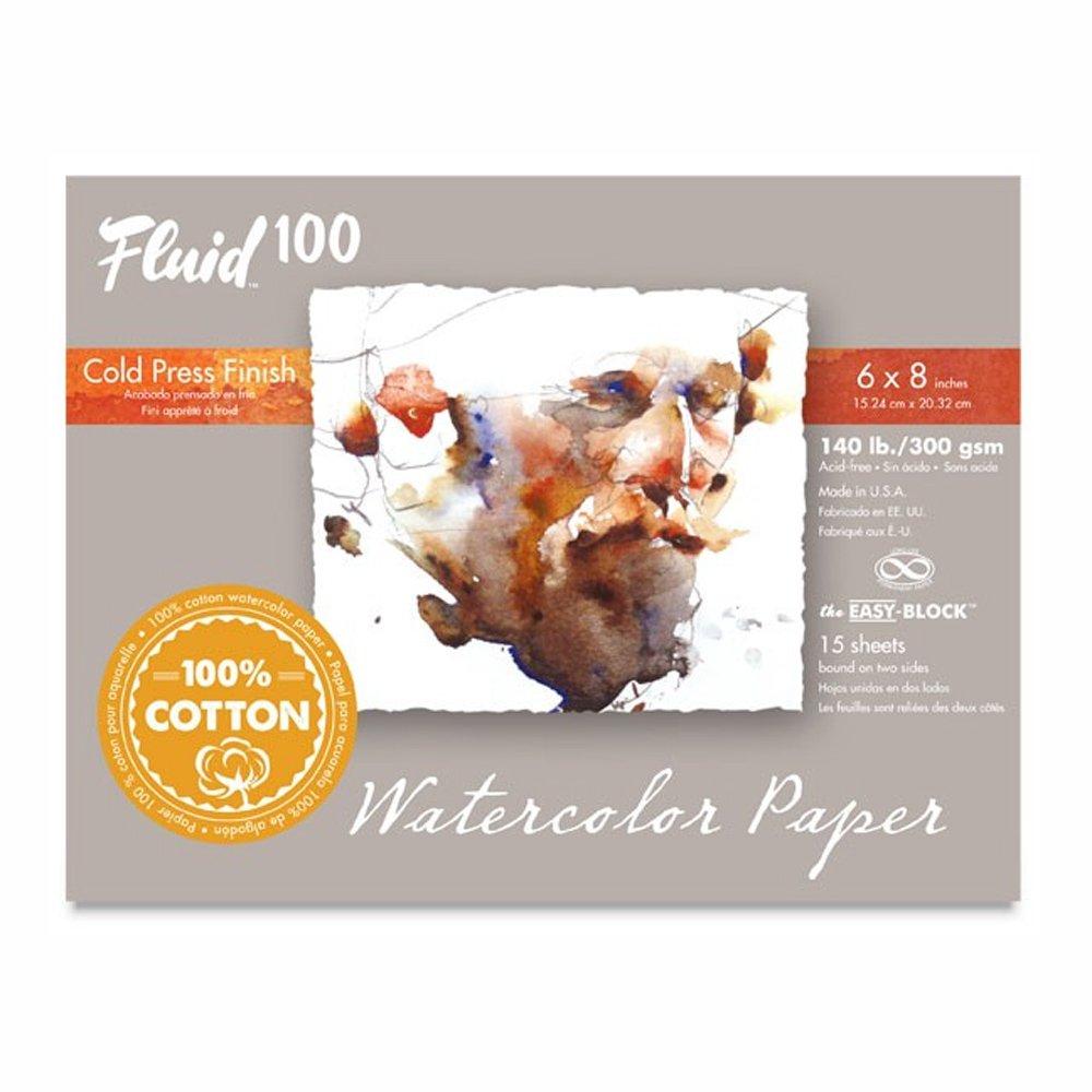 Global Art Fluid 100 Watercolor Paper Block Cold Press 6 x 8 140 lb., 15 Shts./Block GLOBAL ART MATERIAL