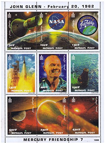 John Glenn and Mercury-Atlas 6 space mission mint stamp sheet featuring 9 stamps depicting different moments from this space mission – Mongolia / 1998 / 9 stamps (Space Mint Stamps)