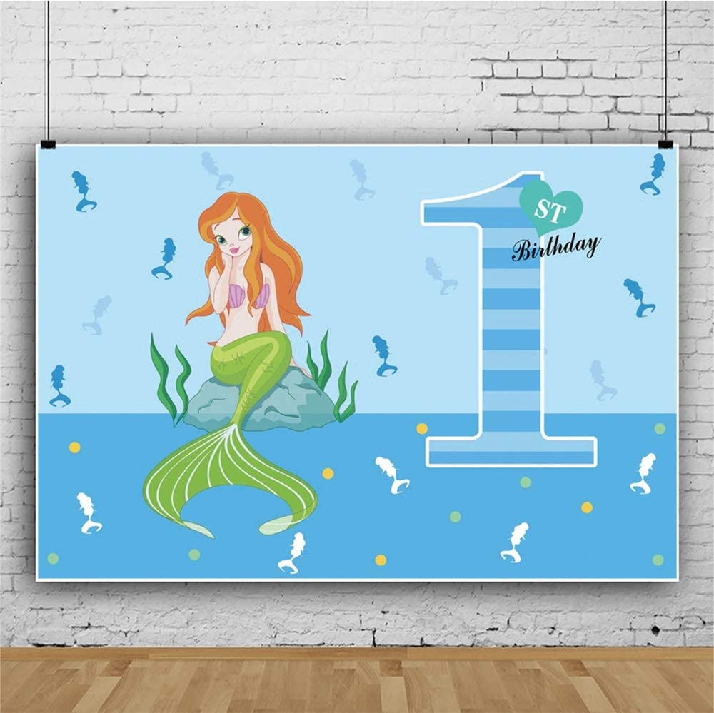 Yeele Girl 1st Birthday Backdrop 10x8ft Mermaid Princess Blue Sea Photography Background One Year Princess Birthday Party Banner Artistic Portrait 1st Cake Smash Photo Booth Props