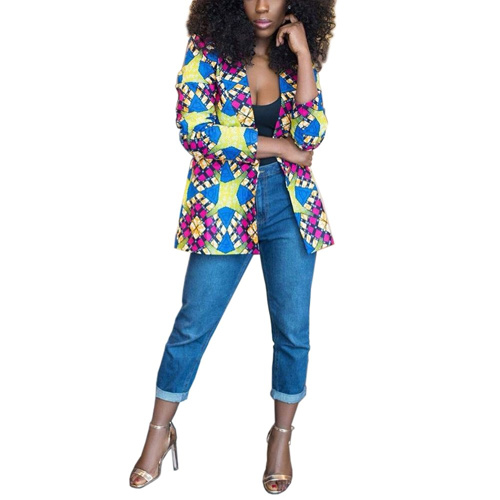 Lrud Women's Casual Long Sleeve Dashiki African Floral Print Blazer Jacket Coat Suits Blue S by Lrud (Image #5)