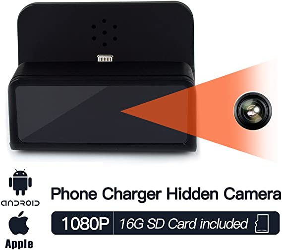 Nanny Camera,HD Video,Easy Operation,Free App Panoraxy WiFi Phone Charger Dock Hidden Camera Micro USB Connector No Extra Fee Instant Push,Local Storage