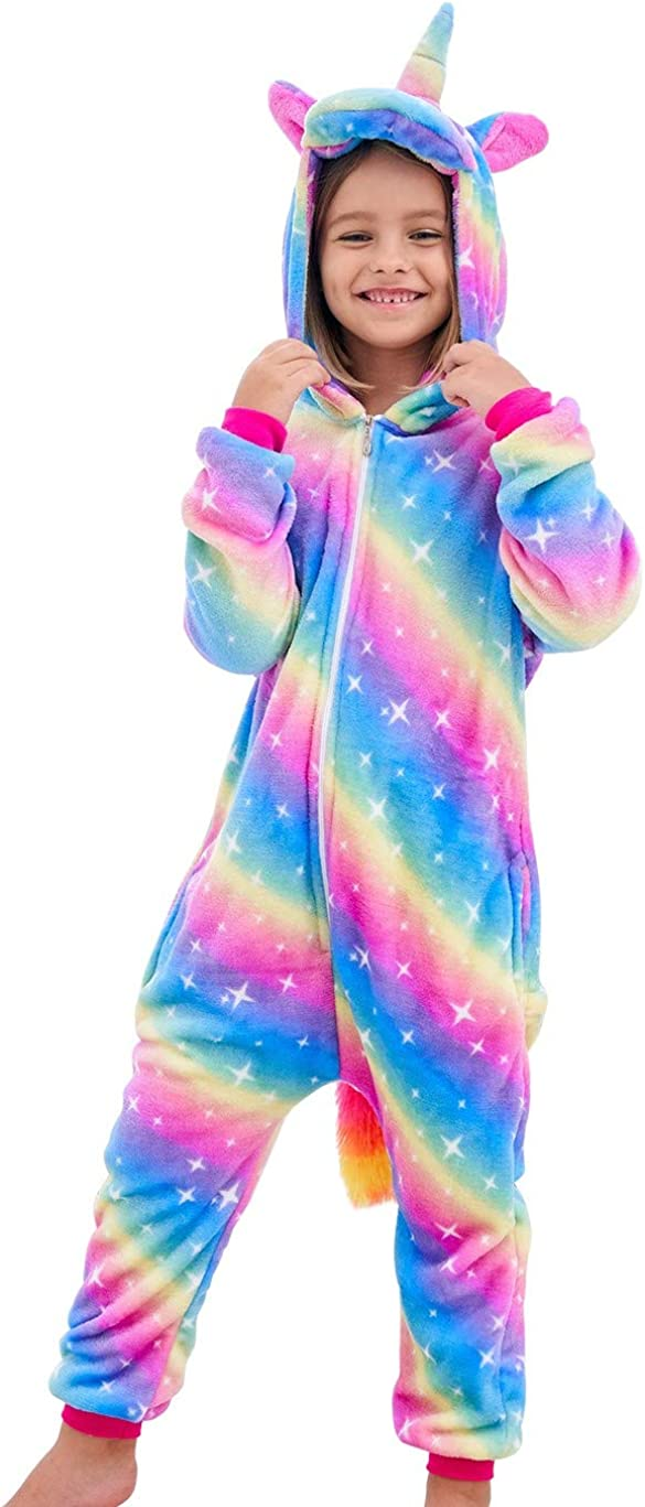 Girls Unicorn Pajamas Onesie, Animal Costume for Kids