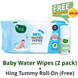 Mother Sparsh Baby Water Wipes (Pack of 2, 80 Wipes) with Tummy roll on for Colic Relief 40ml
