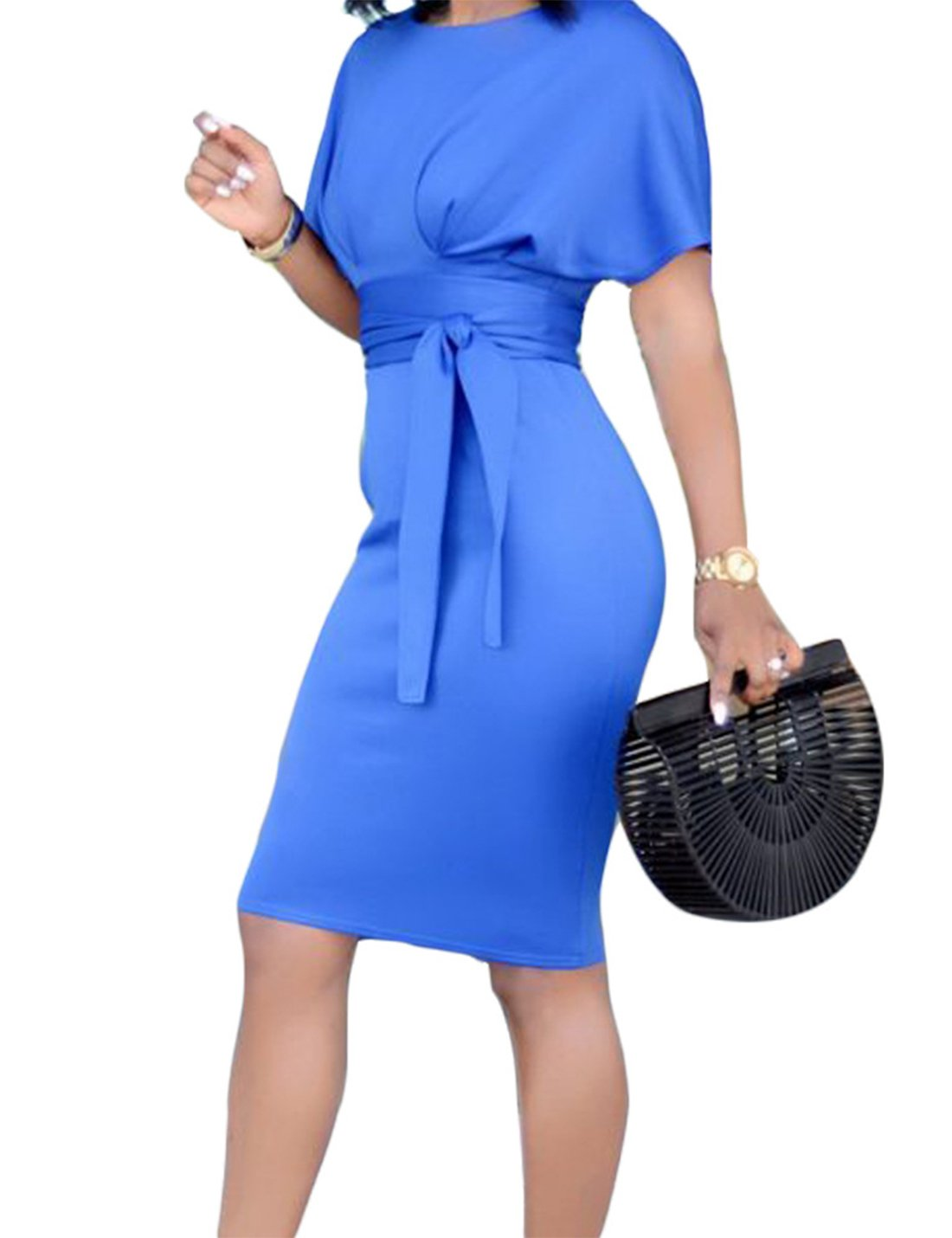 Women Business Wear to Work Short Sleeve Floral Print Bodyon Pencil Dress Colorblock (Light Blue, 3XL)