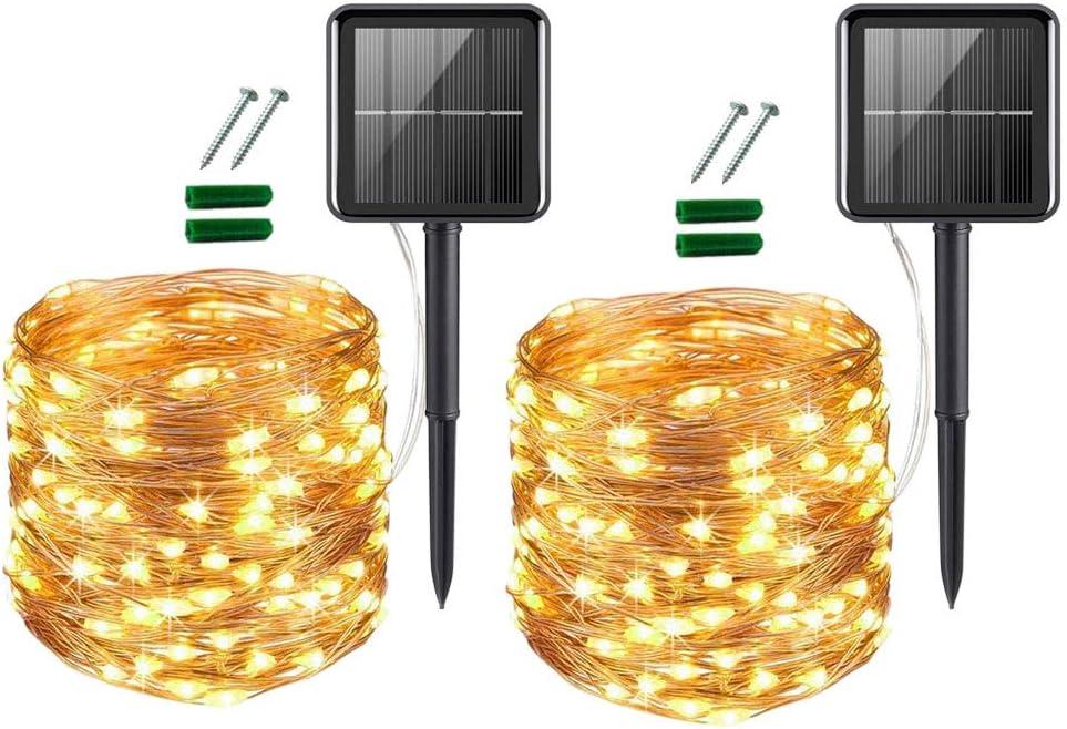 [2 Pack] UPOOM Solar String Lights, 200 LED Outdoor Solar Fairy Lights Garden Copper Wire Decorative Lights 66Ft Waterproof Indoor Outdoor Lighting for Garden, Patio, Yard, Christmas
