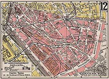 Karte Paris Arrondissement.Amazon De Paris 12 12e Xiie Arrondissement Reuilly
