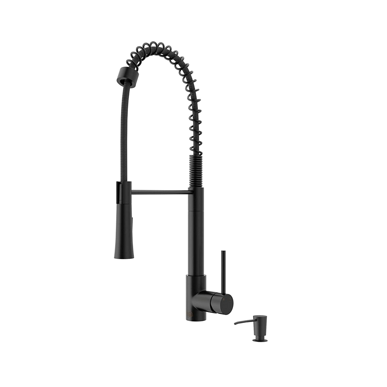 Vigo VG02022K2 Laurelton 1.8 GPM Pre-Rinse Swivel Kitchen Faucet with Soap Dispe, Matte Black