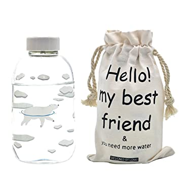 fecihor cristal botella de agua, botella de agua transparente con pingüino impresión apto para agua