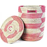 Pink & White African Sahara Basket with Lid