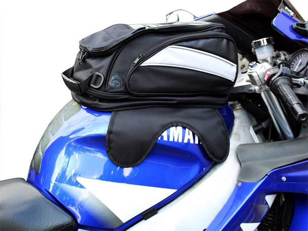TMS Black Motorcycle Sport Bike Riding Magnetic Gas Tank Bag Backpack w/Rain Cover