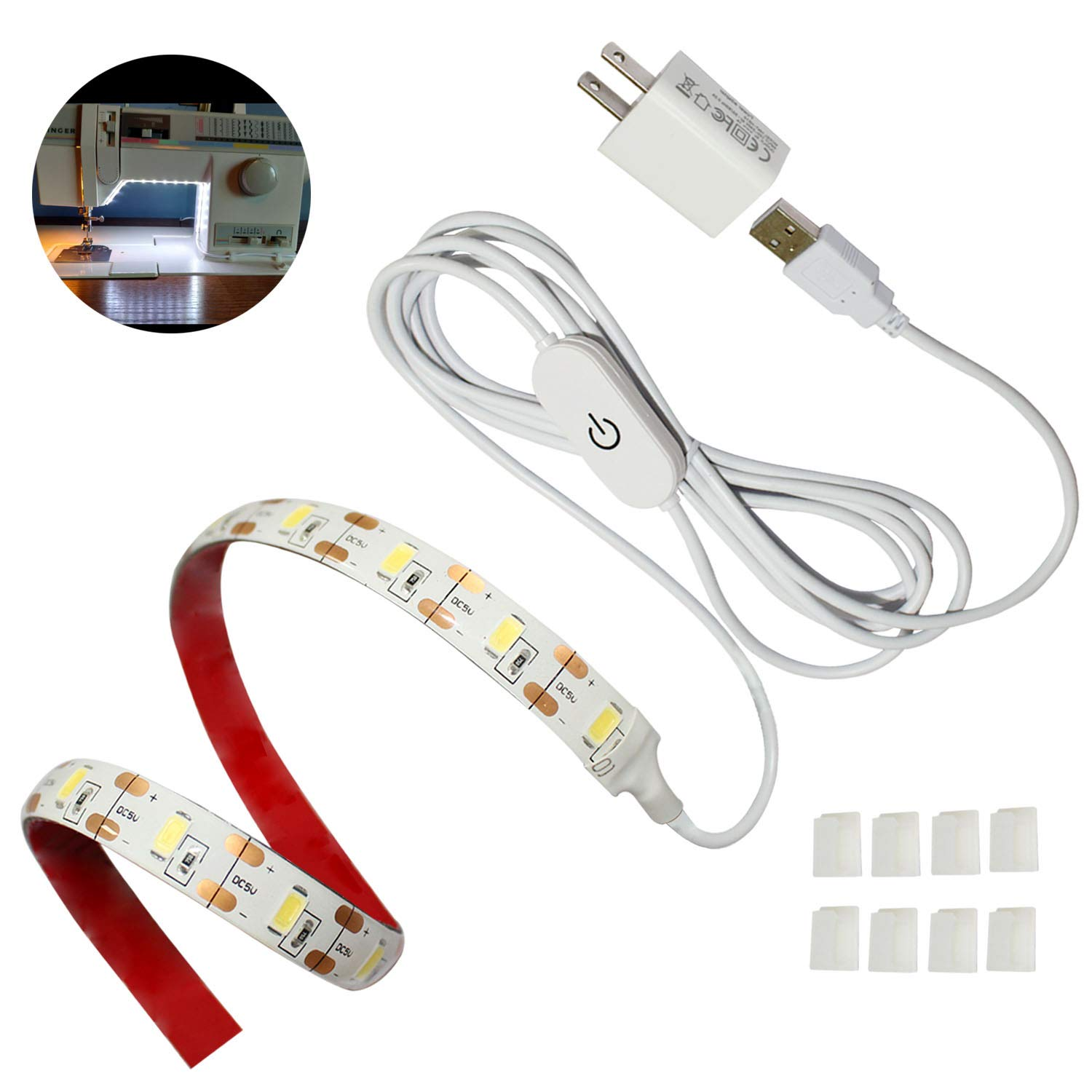 Suitable for All Sewing Machines Sewing Machine LED Light 6.6 ft with Touch Dimmer and USB Power Cord 8 Adhesive Clips 6500K Sewing Light Strip
