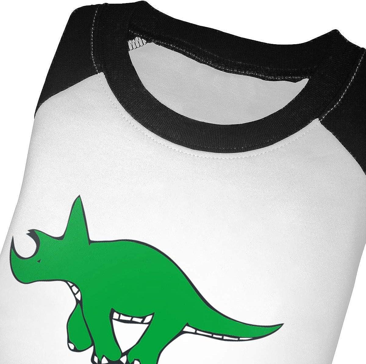 Kocvbng I Green Dinosaur Riding Tricycle Raglan 3//4 Sleeves Tshirt for Girl Boy