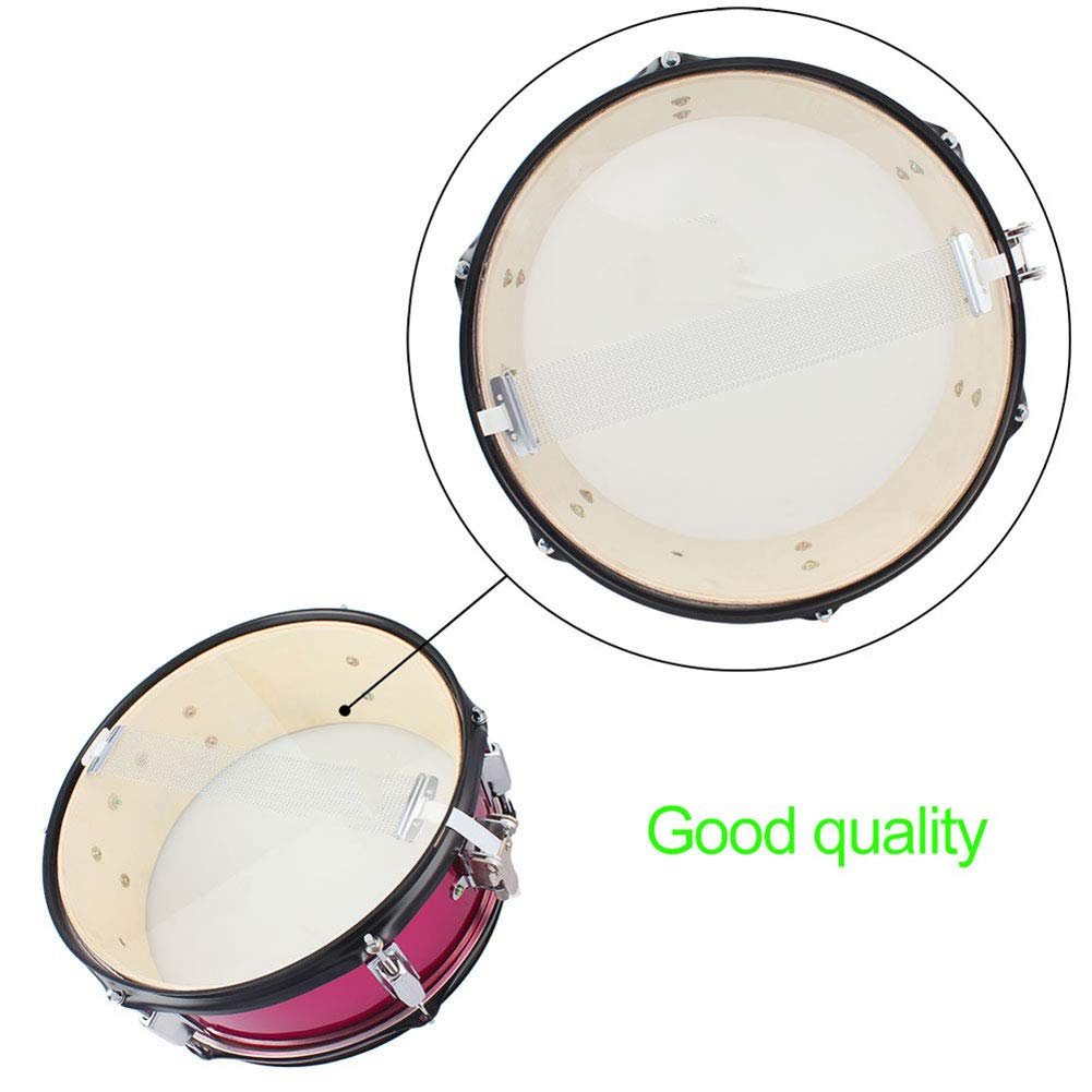 MG.QING Small Snare Drum 14 inch Professional Snare Drum Student Band with Drumsticks, Straps, Tuning Key,Pink by MG.QING (Image #3)