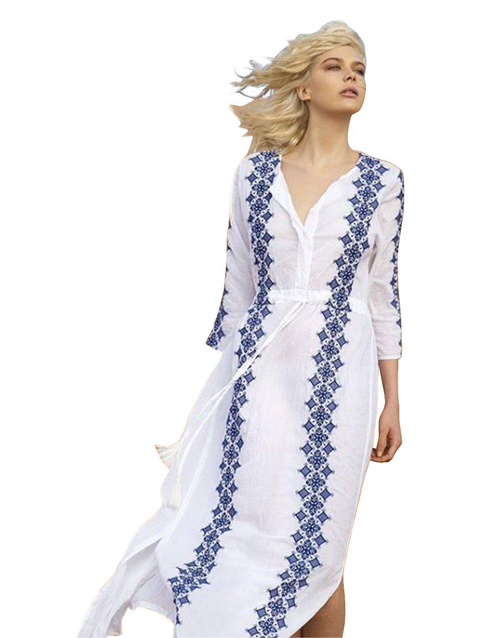 Sanifer Women's Embroidered Print Bohemian Maxi Beach Dress Long Beach Swimsuit Cover up Dress (Blue)