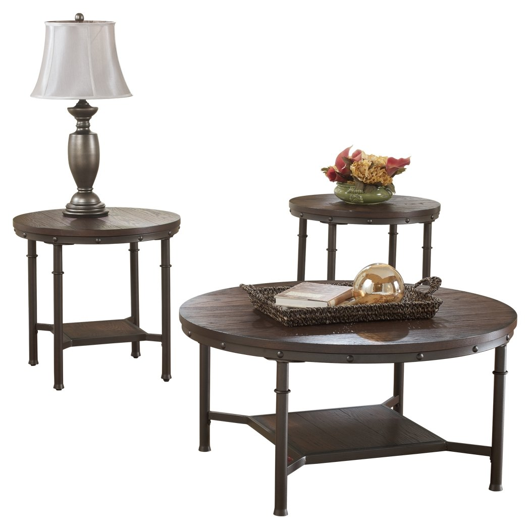 Ashley Furniture Signature Design - Sandling Occasional Table Set - End Tables and Coffee Table - 3 Piece - Round - Rustic Brown T277-13