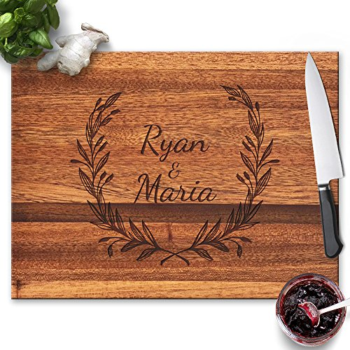 Froolu Decorative Leaves wood cutting board for Monogram Names Housewarming (Leaf Gift)