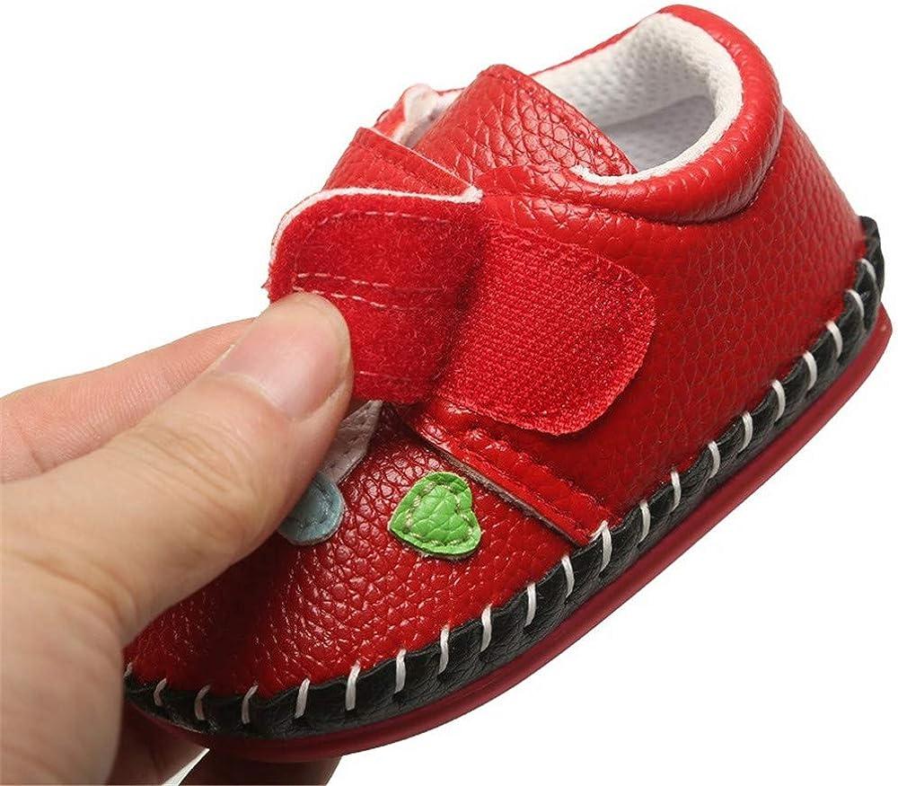 Geagodelia Scarpe da Passeggio con Fondo Rigido in Pelle pu da Neonato Suola in Gomma Primi Camminatori Pantofole per Bambino Scarpette per Bambina