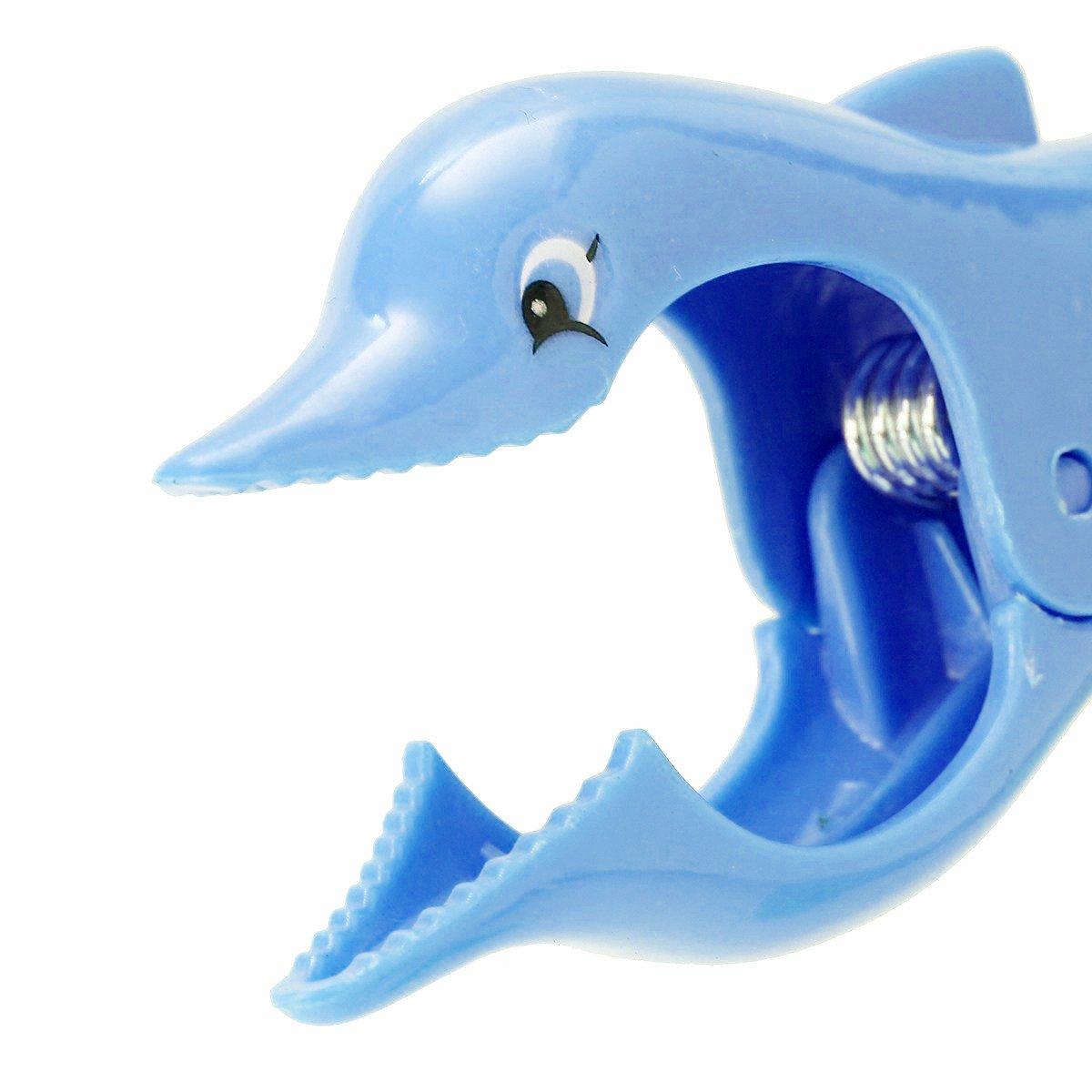 TRIXES Confezione da 2 mollette Blu in plastica a Forma di Delfino per Telo Mare Clip per Lettino da Spiaggia