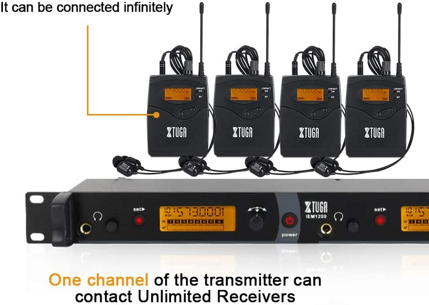 IEM1200 Wireless in Ear Monitor System 2 Channel 2//4//5//6 Bodypack Monitoring with in Earphone Wireless Type Used for Stage or Studio 6 Bodypacks