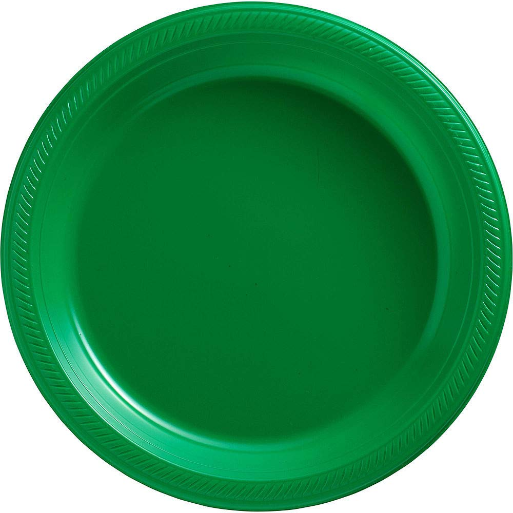 Amscan Festive Green Plastic Tableware Kit for 50 Guests, Party Supplies, Includes Table Covers, Plates, Cups and More by amscan (Image #3)