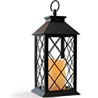 Bright Zeal 14″ Vintage Candle Lantern with LED Flickering Flameless Candle (Black, 6hr Timer) - Tabletop Lantern Decorative Outdoor - Candle Lantern Battery Operated - Hanging Lantern for Gazebo BZX