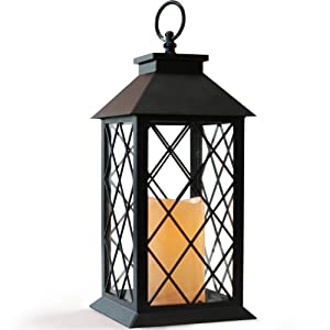 """Bright Zeal BZX 14"""" Tall Black Vintage Candle Lantern LED Flickering Flameless Candles Timer (Batteries Included)- Indoor Outdoor Hanging Lights- Candle Lanterns Decorative - Candles & Holders"""