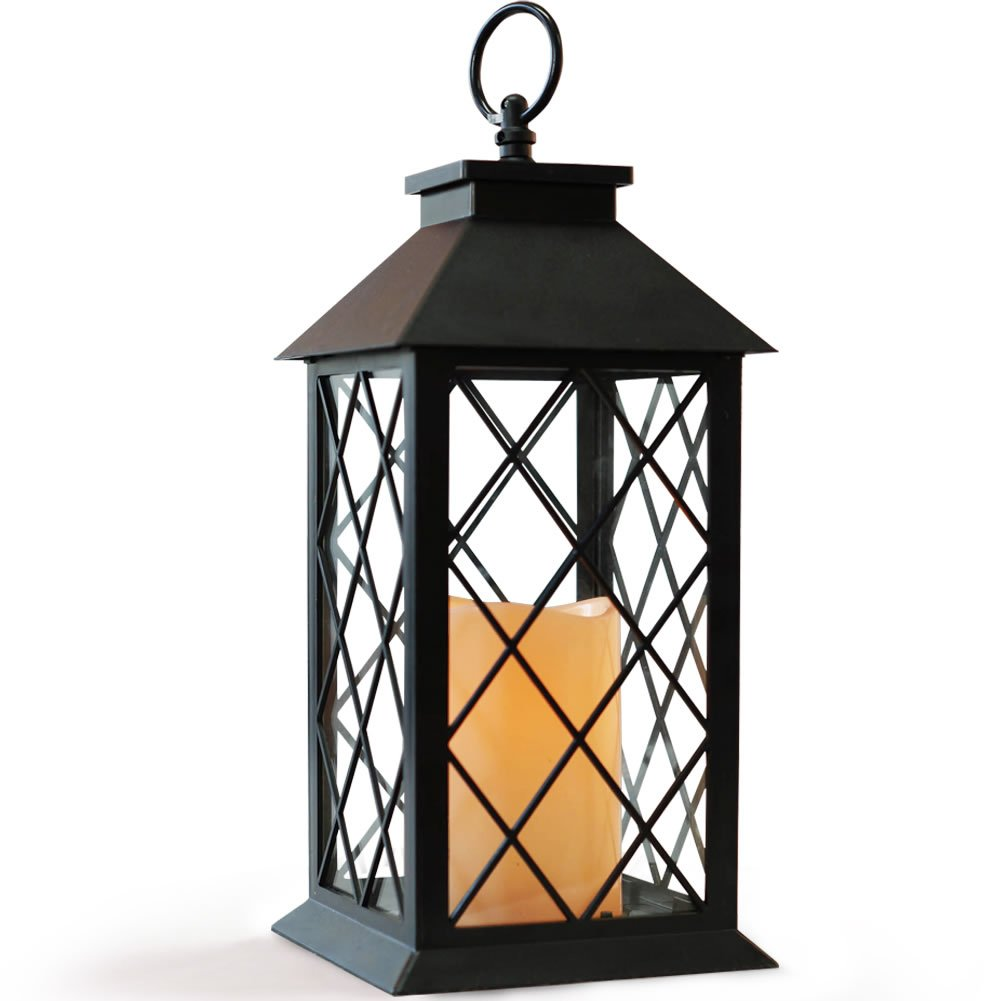 BRIGHT ZEAL BZ 14'' TALL Black Vintage Candle Lantern with LED Flickering Flameless Candles and Timer (Batteries Included)- Indoor Outdoor Hanging Lights- Candle Lanterns Decorative - Candles & Holders
