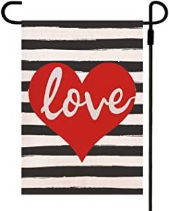 Doncida Valentine's Day Garden Flag Double Sided Love Heart Watercolor Black White Striped Background, Burlap Yard Flag 12.5 x 18 Inch Holiday Anniversary Wedding Outdoor Decoration