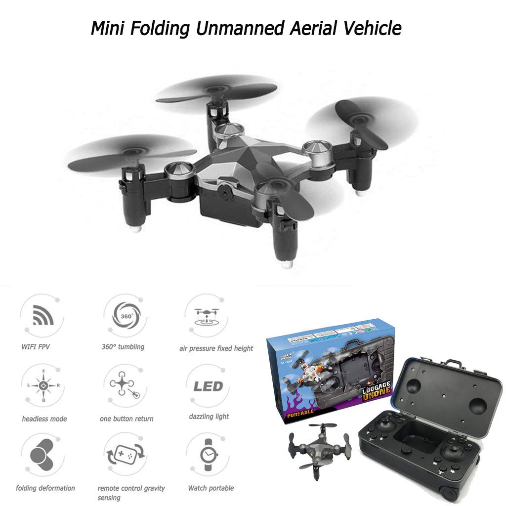 Basde Drone Mini Folding Unmanned Aerial Vehicle Pocket Drone, GPS Return Home Four-Axis Aircraft Portable Drone for Kids, Beginners and Adults - Follow Me, Altitude Hold, Long Control Range by Basde