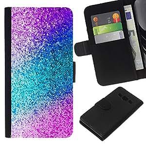 KLONGSHOP // Tirón de la caja Cartera de cuero con ranuras para tarjetas - Teal Blue Pattern - Samsung Galaxy A3 //
