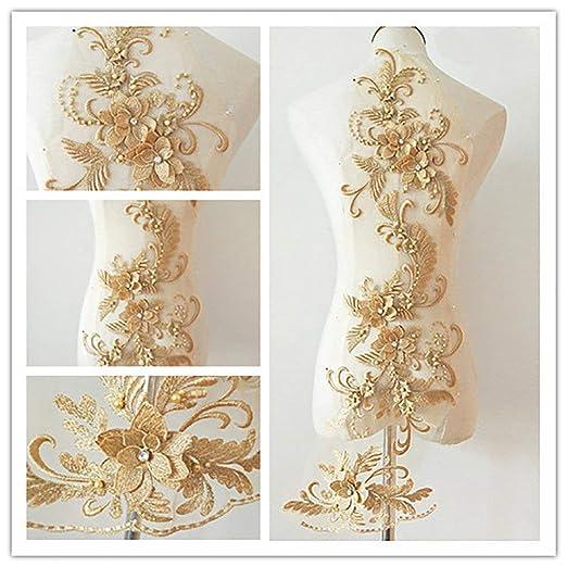 Apliques de encaje 3d Motivos de parches Lentejuelas Diamante Beads Trim Ideal para bricolaje Costura artesanal Sastrería Boda nupcial 3 en 1 Oro
