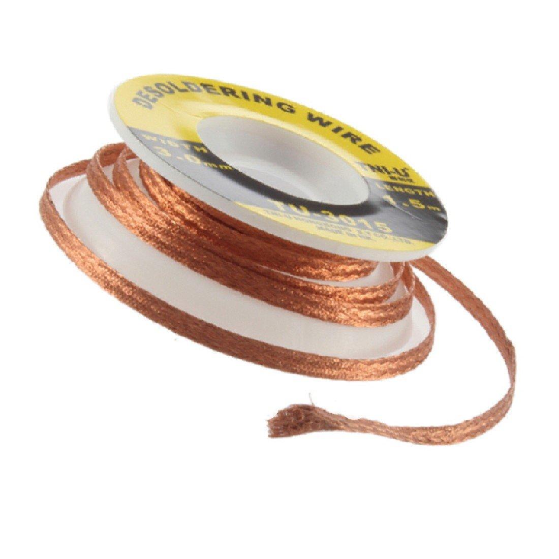 Brasage à souder à dessouder Mèche Tresse Décolleur de flux Câble à ventouse à souder 5 ft. 3 mm Flux Électrique Cuivre Accessoire YOGINGO