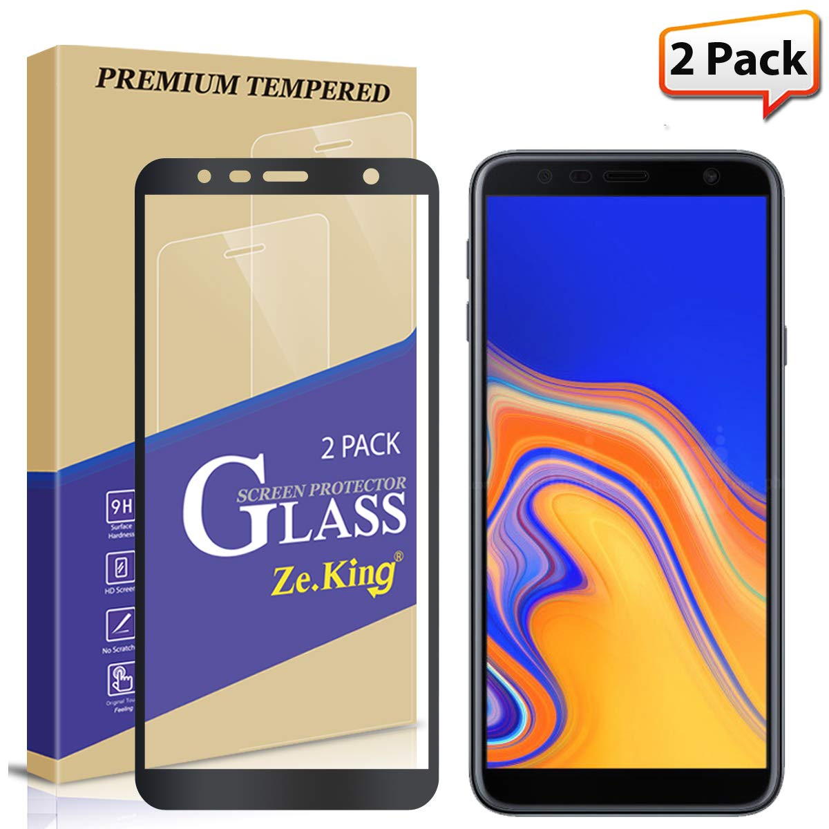[2-Pack] Samsung Galaxy J4 Plus Full Coverage Screen Protector Tempered Glass, Zeking 0.33mm 2.5D Edge 9H Hardness [Anti Scratch][Anti-Fingerprint] Bubble Free, Lifetime Replacement Warranty (Black)