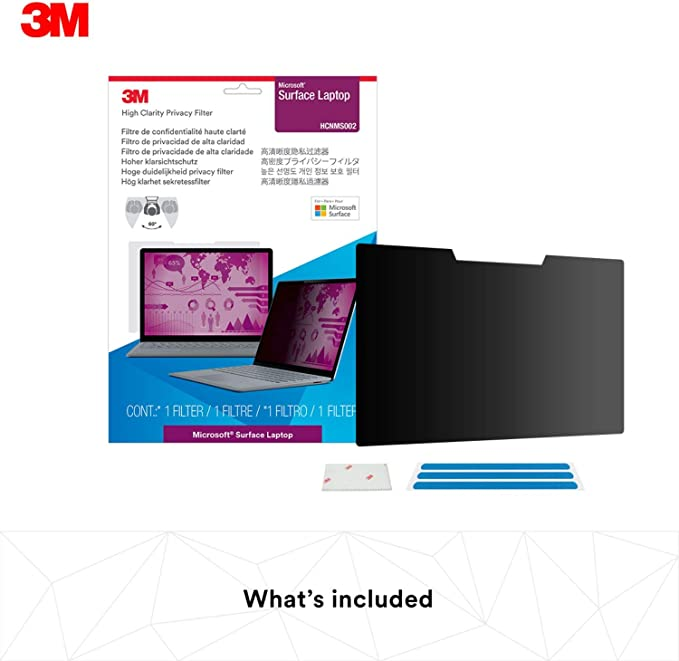 Reusable and Removable Anti-Glare Laptop Privacy Screen Protector FiiMoo Removable Filtre de confidentialit/é Compatible avec Microsoft Surface Laptop 1//2 3 13.5 inch,Anti-Spy Filter