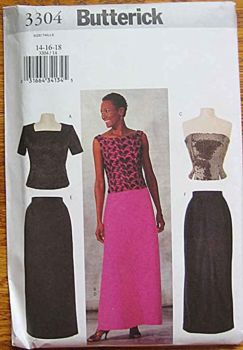 Amazon.com: Butterick 3304 Sewing Pattern ~ Evening Wear, Top and ...