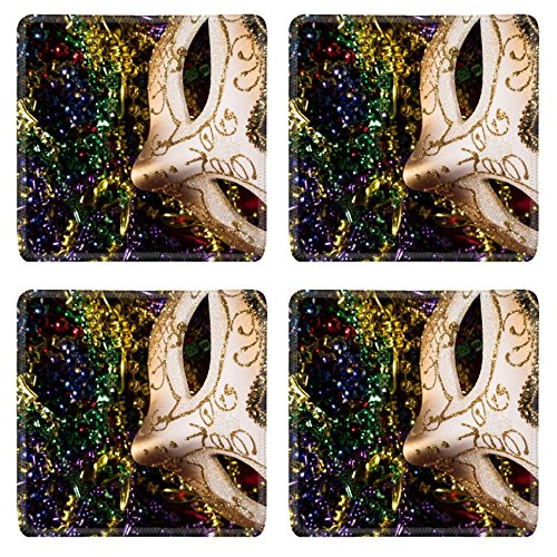 Luxlady Natural Rubber Square Coasters IMAGE ID: 26111871 Colorful Mardi Gras Mask with beaded (Carnavale Costumes)