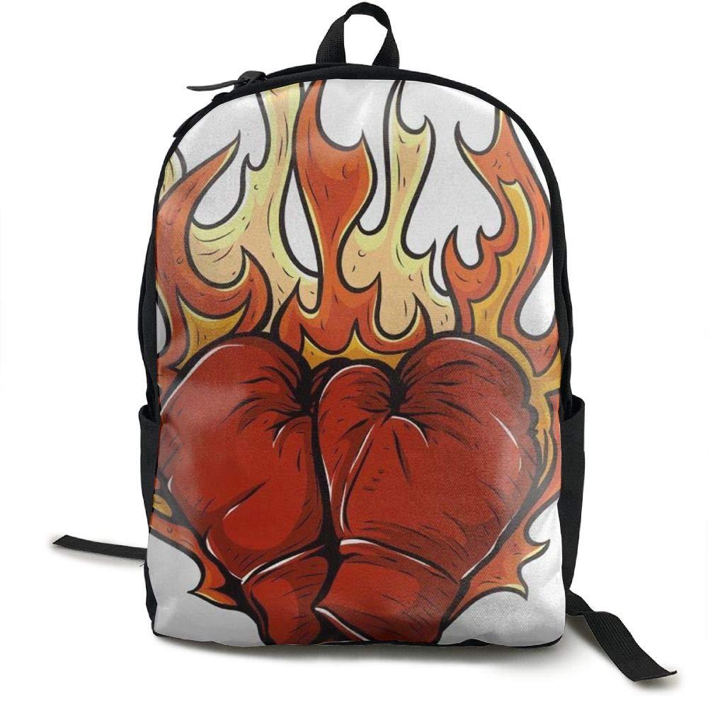 Malsjk8 ボクシンググローブ ファイヤースクール ブックバッグ リュックサック 女の子 旅行バックパック キャンバスバックパック ショルダーブックバッグ   B07G833X7C