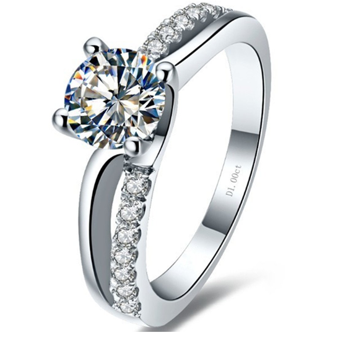 Superb 1CT NSCD Simulated Diamond Ring 4 Prongs Setting Engagement Ring for Women Sterling Silver by THREE MAN (Image #2)