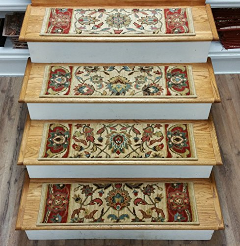 ditional Oriental Non Slip Carpet Stair Treads - Set of 13 Treads 30