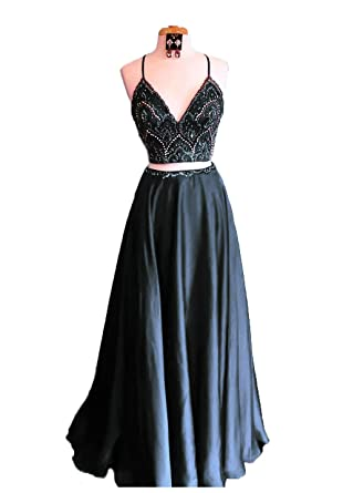 3bc067e4cad Lnxianee Women s Beaded Prom Dresses 2019 Long Two Pieces V Neck Formal  Evening Party Dresses Black