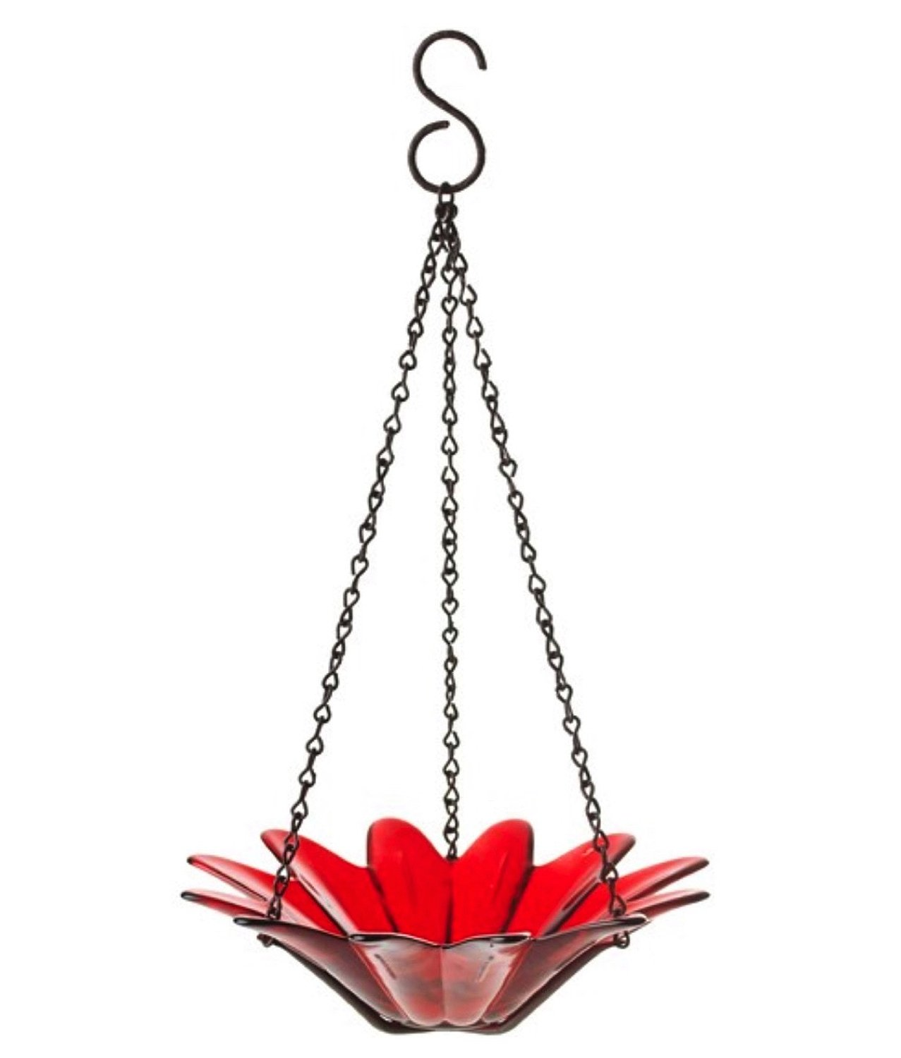 Hanging Colored Glass Bowl Bird Feeder Garden Home Accent 1pc G97 Red Recycled Eco-Friendly Colored Glass Bowl with Black Powder Coated Chain for Garden, Kitchen and/or Home Decor.