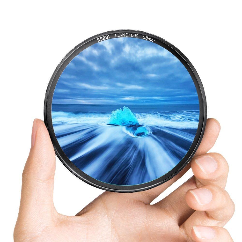 ESDDI 58mm ND 1000 Filter Neutral Density MRC ND 1000 Professional Photography Filter Dark Black Aluminum Frame Lens Bundle for Lens