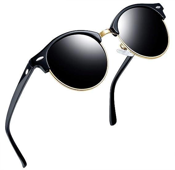bdd92211822 Joopin Semi Rimless Polarized Sunglasses Women Men Retro Brand Sun Glasses  (Shiny Black