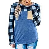 UFACE Damen Bluse O-Ausschnitt Langarm Sweatshirt Pullover Gitter Plaid Tops Bluse Shirt